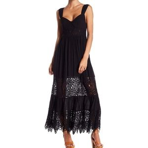 FREE PEOPLE Caught Your Eye Black Maxi Lace Dress